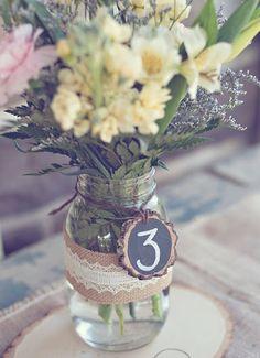 Chalkboard, lace, burlap and mason jar centerpiece | UBetts Rental & Design