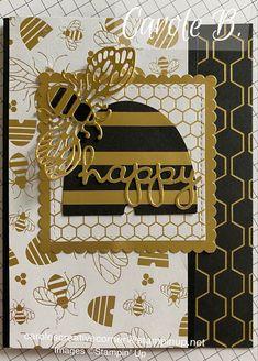 Butterfly Cards, Flower Cards, Scrapbook Cards, Scrapbooking, Bee Honeycomb, Honey Bee Stamps, Bee On Flower, Golden Honey, Bee Cards