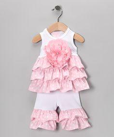 Take a look at this Pink & White Ruffle Top & Flare Pants - Infant by Mud Pie Kids on #zulily today!