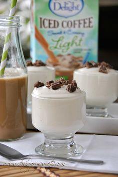 SKINNY Vanilla Iced Coffee Pudding: delicious, light dessert made with pudding, International Delight iced coffee, milk and Cool Whip #LightIcedCoffee #dessert