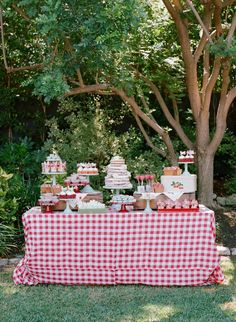 Vintage Strawberry Dessert Table This past June, I had the opportunity to create another dessert table for Tiffani Thiessen's daughter's birthday. This year, Harper chose a strawberry theme to celebrate her birthday. I loved the idea and couldn't Picnic Theme, Picnic Birthday, 4th Birthday Parties, Birthday Fun, Birthday Celebration, Birthday Ideas, Picnic Parties, Tea Parties, Vintage Dessert Tables