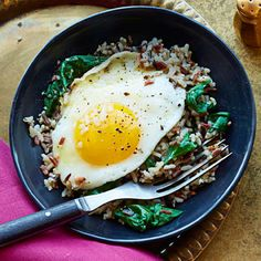 Wild Rice and Spinach #Egg Bowl #supercarb #healthyrecipes