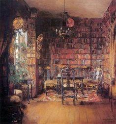La biblioteca de Thorvald Boeck (1902) Harriet Backer (Noruega, 1845 - 1932)