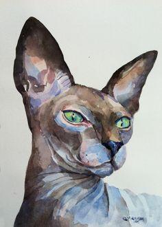 Sphynx Hairless Cat Portrait, Custom pet Portrait, cat portrait ORIGINAL WATERCOLOR PAINTING by alisiasilverART on Etsy