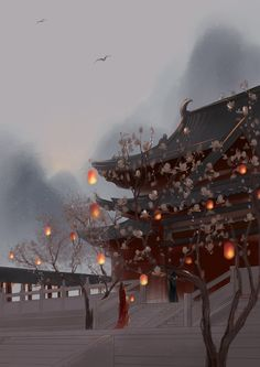 glowing palace at dusk illustration Fantasy Landscape, Fantasy Art, Art Asiatique, Fantasy Places, China Art, Chinese Architecture, Anime Scenery, Environmental Art, Chinese Painting