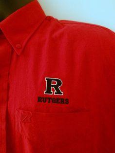 Mens Med. Rutgers Cutter & Buck Shirt Deep Red Button Front Logo Pocket College #CutterBuck #ButtonFront