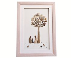 Family of three pebble art gift First father Day by PebbleArtDream