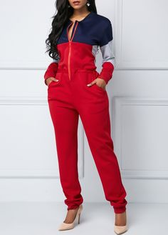 Color Block Zipper Up Long Sleeve Jumpsuit Classy Outfits, Casual Outfits, Cute Outfits, Casual Attire, Girl Fashion, Fashion Outfits, Colorful Fashion, Jumpsuits For Women, African Fashion