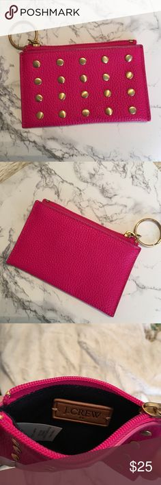 J. Crew pink leather keychain pouch J. Crew pink leather keychain pouch. 100% leather. Never used. Hot pink with gold details. J. Crew Bags Clutches & Wristlets