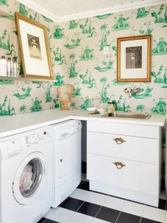 chinoiserie laundry room » For whatever reason I will feel as though I've really made it when I have a fancy laundry area, ha ha.