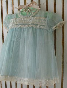 Sweet vintage, pale blue and ivory infant dress wit slip, 1950's.