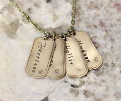 Hand Stamped Personalized Mini Dog Tag Brass Mom Necklace - Four Kids Names, Gifts for Grammas, Moms