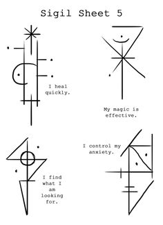 """Sigil Sheet """"I heal quickly"""" """"My magic is effective"""" """"I find what I'm looking for"""" """"I control my anxiety"""" Witch Symbols, Rune Symbols, Alchemy Symbols, Magic Symbols, Symbols And Meanings, Viking Symbols, Viking Runes, Ancient Symbols, Viking Rune Tattoo"""