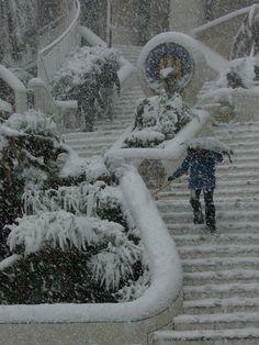 Chute de neige à Barcelone 2010. Park Güell - Architecte Antoni Gaudi, 1900-1914