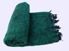 Yak Wool Shawls Scarves Plain design-Green Color From Nepal WYS-40