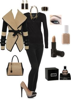 """""""Tan & Black"""" by in2song on Polyvore"""