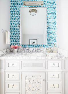House of Turquoise: Andrew Howard Interior Design - diamond aqua tiles around the mirror. Top Bathroom Design, Bathroom Interior, Room Tiles, Bathroom Decor, Mirrored Cabinet Doors, Interior Design, Bathroom Interior Design, Geometric Tiles, Bathroom Design