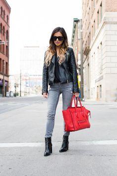 931c01cf3afa5 Zara Leather Jacket. Topshop Top. Zara Jeans. Zara Booties.