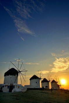 Windmills in Mykonos, Greece at sunset © John Bragg Photography Mykonos Island, Santorini Greece, Fine Art Photo, Photo Art, Places In Greece, Greek Isles, Europe Photos, Greece Islands, Le Moulin