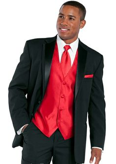 Black and red tux