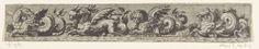 Giovanni Andrea Maglioli | Fries met aan de linkerkant een zeehond, Giovanni Andrea Maglioli, Anonymous, Johann Theodor de Bry, 1580 - 1623 | Tegenzijdige kopieën naar de volgende prenten: RP-P-1984-442, RP-P-1984-444, RP-P-1984-443 en RP-P-1984-437. Blad uit serie van 6.