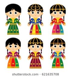 b83252f82 set of girls are wearing an old traditional colorful dresses in some Arab  gulf countries that