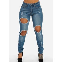 High Rise Ripped Pencil Skinny Jeans With Ripped Pocket ($30) ❤ liked on Polyvore