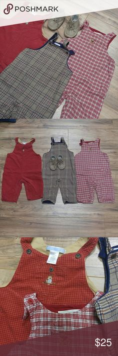 Janie and Jack Overalls 6-12M & size 3 soft shoes 3 overalls size 6-12 months that snap at the legs for easy diaper changes. Lace up leather crib shoes in taupe size 3. All in excellent used condition. Janie and Jack One Pieces