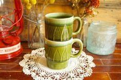 2 Vintage Green Ceramic Stoneware Geometric Mugs by TheUrbanBarn, $16.50 original Vintage kitchen décor mid century etsy shops antique colorful unique one of a kind 50s 60s 70s cute gift for her for him rusty rustic primitive barn farm country home farmhouse weddings wedding decoration