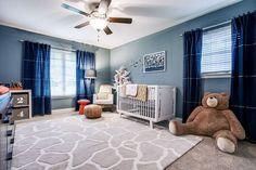 Pulp Design Studios - nurseries - Blue Canvas Curtain Panels, Oeuf Sparrow Crib, Light Years Grey Floor Shade and Graphite Base, Nursery Wor...