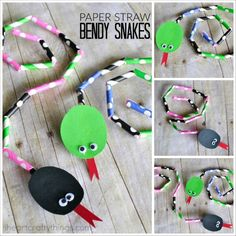 This paper straw bendy snake craft is simple for kids to make and since it is bendable, it is so fun for kids to play with.