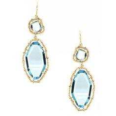 Yellow gold & pale blue earrings