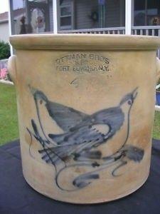 "Four gallon stoneware crock stamped ""Ottman Bros & Co., Fort Edward, NY,"" H… Antique Crocks, Old Crocks, Antique Stoneware, Stoneware Crocks, Antique Pottery, Primitive Antiques, Vintage Antiques, Primitive Decor, Glazes For Pottery"