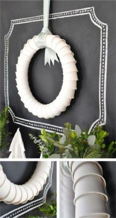 Top 10 Christmas Wreath Ideas - including this paper cup wreath!  eclecticallyvintage.com by kelanew