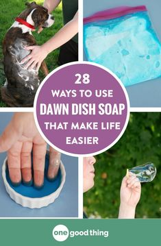 28 Ways To Use Dawn Dish Soap That Will Make Your Life Easier Dawn dish soap is useful for so much more than just washing dishes! Check out this list of nearly 30 other uses for that blue bottle. Deep Cleaning Tips, House Cleaning Tips, Cleaning Solutions, Spring Cleaning, Cleaning Hacks, Diy Hacks, Cleaning Products, Cleaning Recipes, Soap Recipes