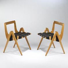 RICHARD NEUTRA    chairs, pair    USA, 1950s  birch, nylon  22 w x 20 d x 28.5 h inches