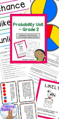 This probability unit for Grade 2 contains posters, lesson ideas, worksheets, 16 task cards, and a quiz.