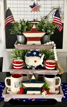 Cute 4th of July display 4th Of July Celebration, 4th Of July Party, July Crafts, Happy 4 Of July, Tray Decor, July 4th, Fourth Of July Decor, 4th Of July Decorations, Holiday Decorations