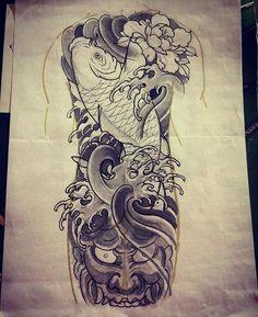 Kiss Tattoos, Dream Tattoos, Cover Up Tattoos, Skull Tattoos, Sleeve Tattoos, Hannya Mask Tattoo, Hanya Tattoo, Sak Yant Tattoo, Koi Fish Drawing