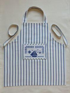 """Tablier de cuisine ou d'atelier, avec poche, Pour enfant, Taille 3/6 ans, brodé thème """"la mer"""", 100%"""