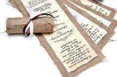 Mariages Rétro: Un faire part en papier ancien et toile de jute