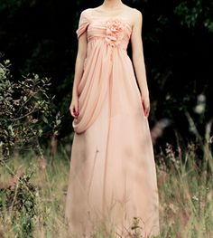 Pretty Light Pink One-Shoulder Chiffon Bridesmaid Dresses 2015, Bridesmaid Dresses, Formal Dresses, Evening Dresses