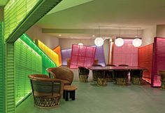 Traditional handmade furniture from Mexico and colorful corrugated metal panels fill the lobby at The Saguaro Palm Springs.