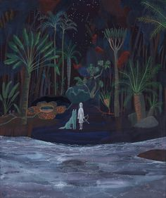 """someday by Yosuke Yamaguchi excerpt from his artist statement: """"Maybe she (and the beast) is the last person to protect the sacred place down inside the heart, where we can really feel that we are related to nature's structure."""""""