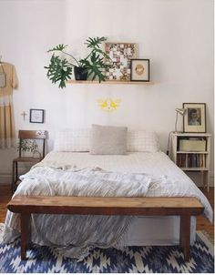 shelf above the bed for plants and artworks