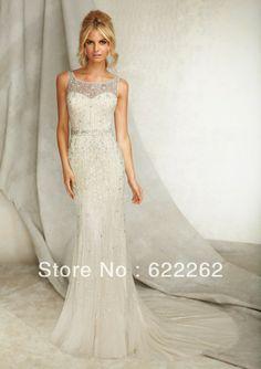 Best sale mermaid scoop chapel train ivory organza beads wholesale wedding dresses crystal vintage wedding gowns