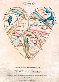 """""""A map of the open country of woman's heart, exhibiting its internal communications, and the facilities and dangers to travellers therein."""" Published by D.W. Kellogg & Co. of Hartford, Connecticut, USA, between 1833 and 1842."""