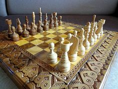 Wooden chess set handmade, wooden carved backgammon and checkers
