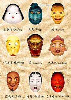Masks and costumes from traditional Japanese Noh theater - Japanese masks 4 by sahua (hiatus) d