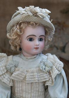 """16"""" (41 cm) Antique All Original Rare French Bisque Bebe Doll Series C by Jules Steiner, closed mouth, early model Bourgoin with original deposed Steiner eye mechanism. A LAYAWAY!"""